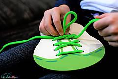 Hračky - Šnurovacia topánka - prírodná - na jemnú motoriku a mašličky - 9680255_