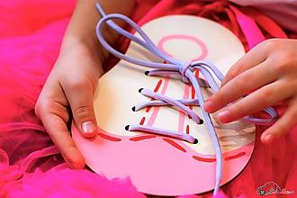 Hračky - Šnurovacia topánka - prírodná - na jemnú motoriku a mašličky (Ružová) - 9680216_