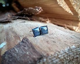 Náušnice - Štvorčeky 6 mm - chirurgická oceľ (čierne) - 9678107_