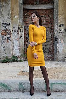 Šaty - Biznis šaty v okrovej farbe. - 9678733_