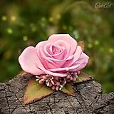Ozdoby do vlasov - Ružová - spona do vlasov pre nevestu - 9678395_