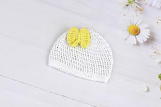 Detské čiapky - Bielo-žltá letná čiapka EXTRA FINE - 9678930_