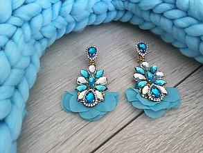 Náušnice - Kamienkové náušnice Blue Chiffon Leaf - 9679513_