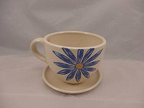 Nádoby - Maxi šálka 2 kvety s podšálkou (Modrá) - 9680076_