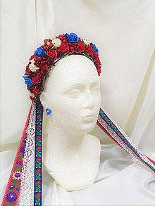 Ozdoby do vlasov - Folková kvetinová svadobná parta - 9679017_