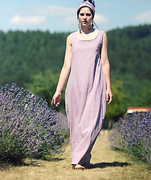 Šaty - Lněné maxi šaty - 9678307_