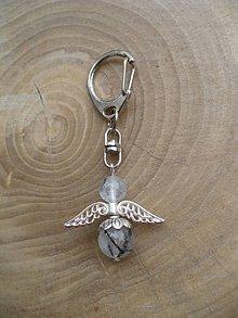 Iné šperky - kľúčenka, prívesok anjel z Turmalínu v krištáli - 9678312_