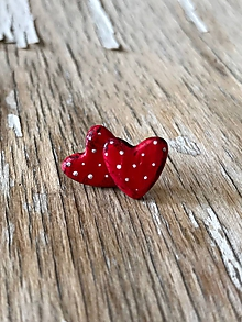 Náušnice - maľované bodkované srdiečka (MINi červené-patina) - 9678363_