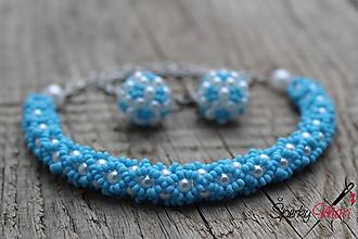 Sady šperkov - súprava bielo-modrá - 9680728_