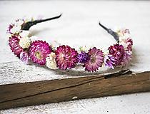 Ozdoby do vlasov - Kvetinová čelenka Ružovo-biela - 9681517_