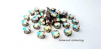 Galantéria - Ozdobné kamienky našívacie 8 mm - Crystal AB - 9681300_