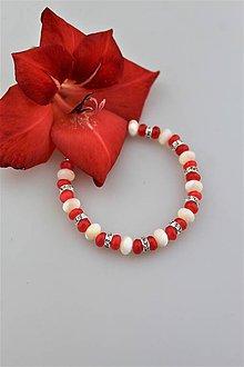"""Náramky - perleť a červený jadeit disky náramok """"gladiola"""" - 9680767_"""
