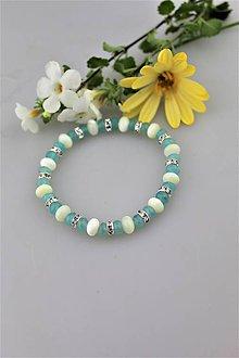Náramky - perleť a modrý jadeit náramok - 9682384_