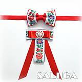Doplnky - Set pre pár/ pánsky a dámsky motýlik - folklórny - červený - 9682147_