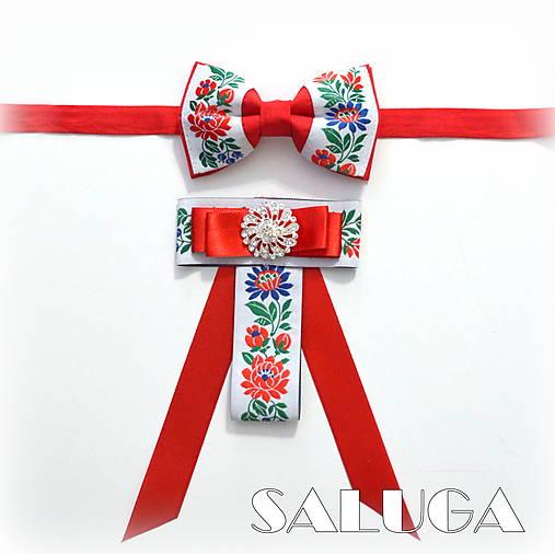 Set pre pár/ pánsky a dámsky motýlik - folklórny - červený