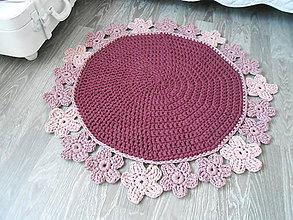 Úžitkový textil - Háčkovaný koberec v bordovej - 9681679_