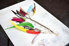 Ozdoby do vlasov - Pestrofarebný hair clip s perím a mušličkami - 9681290_