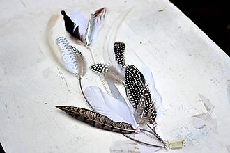 Ozdoby do vlasov - Sivý hair clip z prírodného pierka - 9681141_