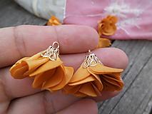 - Textilné kvety, filigrán - pár (Horčicová) - 9680856_
