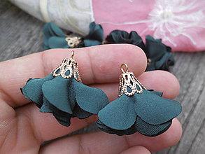 Polotovary - Textilné kvety, filigrán - pár (Tmavozelená) - 9680864_
