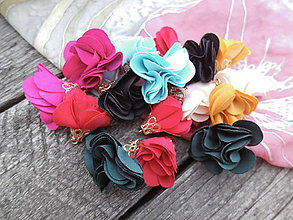 Polotovary - Textilné kvety, filigrán - pár - 9680875_