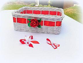 Košíky - Svadobný košík - červená - 9681595_