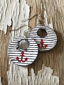 Náušnice - maľované námornícke kruhy - 9682096_