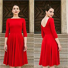 Šaty - Bamboo Osudové šatičky Dorothea červená s výstřihem na zádech - 9683061_