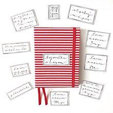 Papiernictvo - DIÁR 2019 červený pásikáč (ľubovoľný nápis) - 9685836_