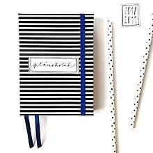 Papiernictvo - DIÁR 2019 čierno-modrý pásikáč (ľubovoľný nápis) - 9685850_