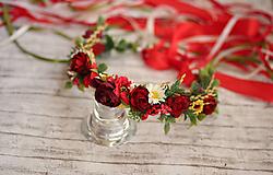 Ozdoby do vlasov - Kvetinový venček folkový so stuhami - 9685830_