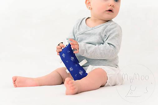 Montessori úchopový vankúšik s rolničkou - modrotlač