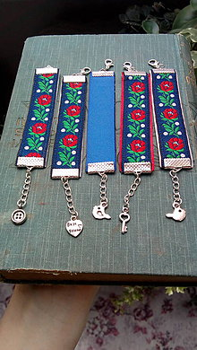 Detské doplnky - Ľudové detské náramky...modré - 9684509_