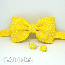 Doplnky - Pánsky žltý motýlik + náušnice - 9685409_