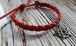 Náramky - Červený náramok pre dámy aj pánov - Pentagram  - 9684389_