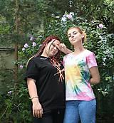 Tričká - Hippies batikované tričko dúhové slnko - 9685318_