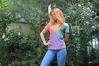 Tričká - Dúhové batikované tričko INDIÁNSKA MANDALA - 9684990_