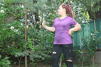 Tričká - Drum and bass fialové bavlnené batikované tričko veľkosť L - 9685114_