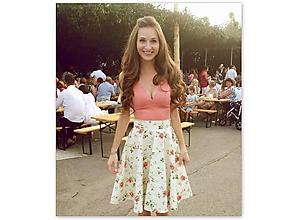 Sukne - Štýlová romantická kolesové sukňa s červenými růžičkami - 9684063_