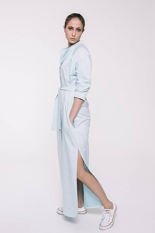 Dlhé svetlomodré košeľové šaty   TAM-ARA - SAShE.sk - Handmade Šaty d31ea8ca094