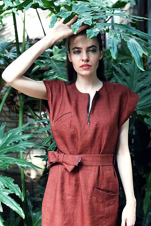 Šaty - Červené oversized šaty po kolená - 9684251_