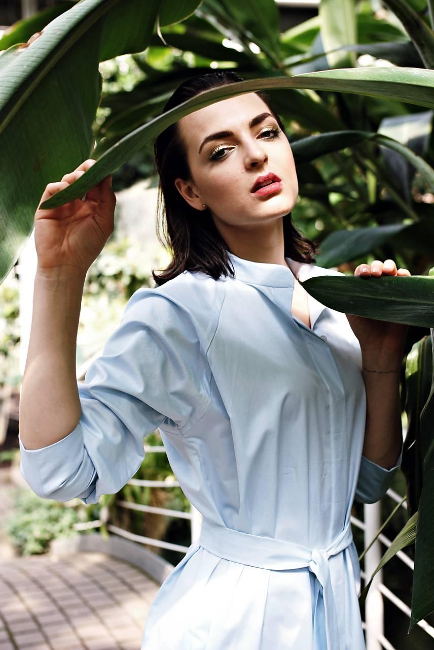 Šaty - Dlhé svetlomodré košeľové šaty - 9684224_