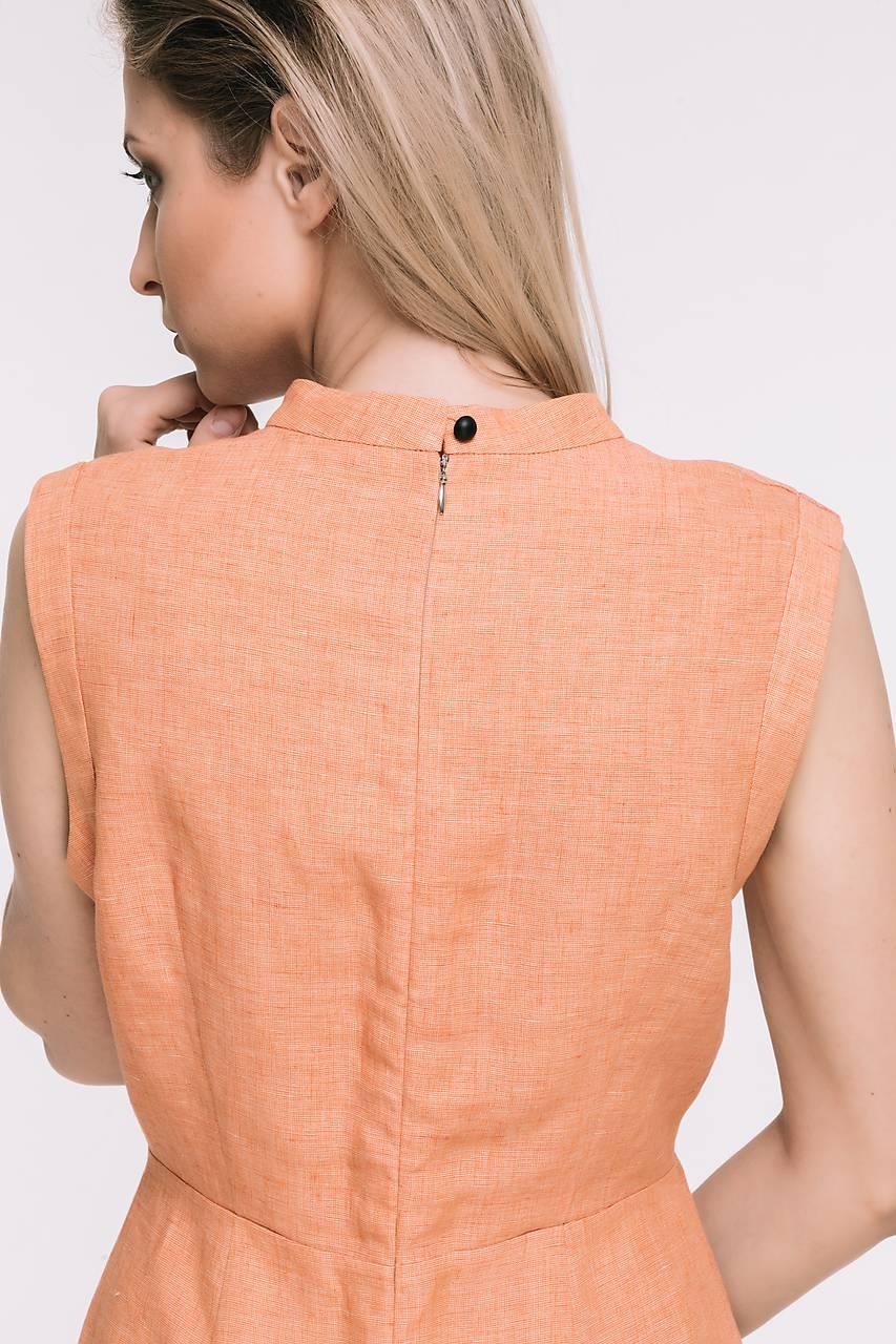 Zľava 20%! - Oranžové ľanové midi šaty bez rukávov   TAM-ARA - SAShE ... a7472d561ee