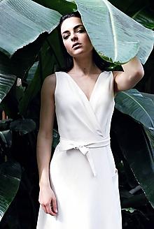 Šaty - Zľava 20%! - Krémové viskózové zavinovacie šaty bez rukávov - 9684504_
