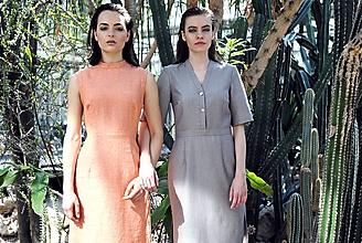Šaty - Zľava 20%! - Oranžové ľanové midi šaty bez rukávov - 9684530_