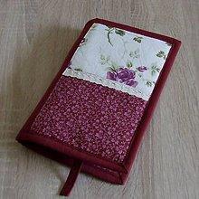 Úžitkový textil - Pre knihomoľov - Kvietky v bordovom L - 9685608_