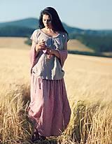 Sukne - Maxi sukně z mušelínu - růžová kytková - 9682968_