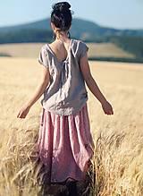 Sukne - Maxi sukně z mušelínu - růžová kytková - 9682992_