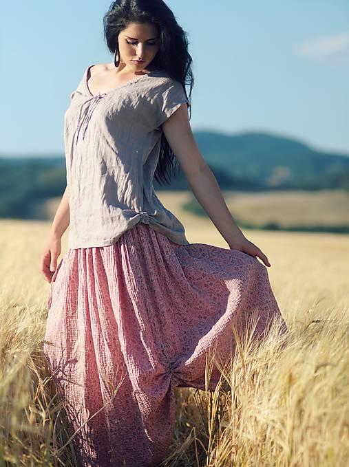 Maxi sukně z mušelínu - růžová kytková
