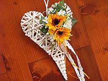 Dekorácie - Biele srdce so slnečnicami 30cm - 9683339_